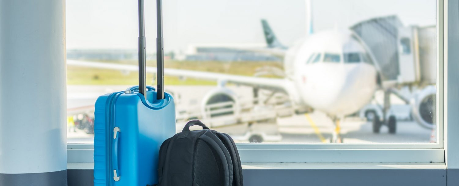 Carry-on in front of a plane