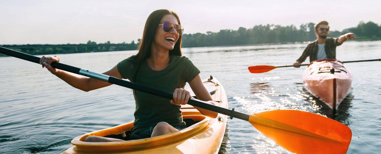 Couple kayaking on the water.
