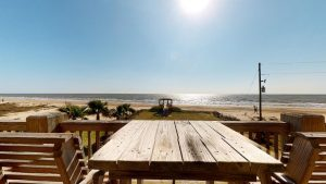 picnic table at vacation rental on beach